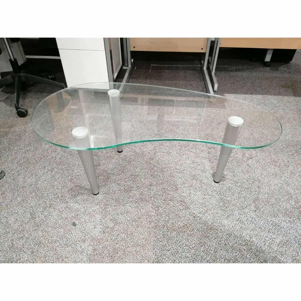 - Glass 1020mm Kidney Shaped Coffee Table SPECIAL41 - ORS