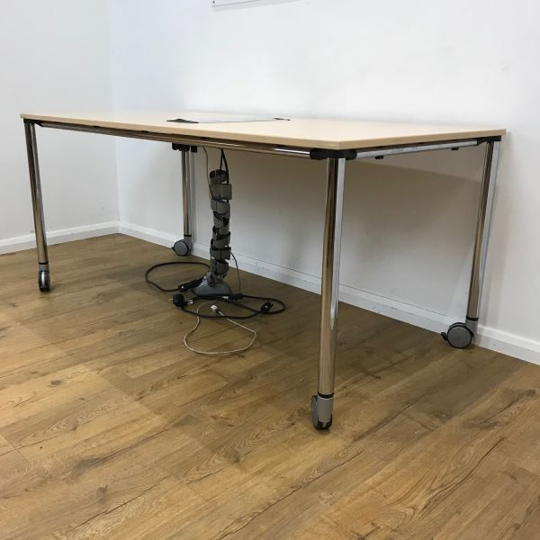 1600x1600mm Maple Mobile Meeting Table Used