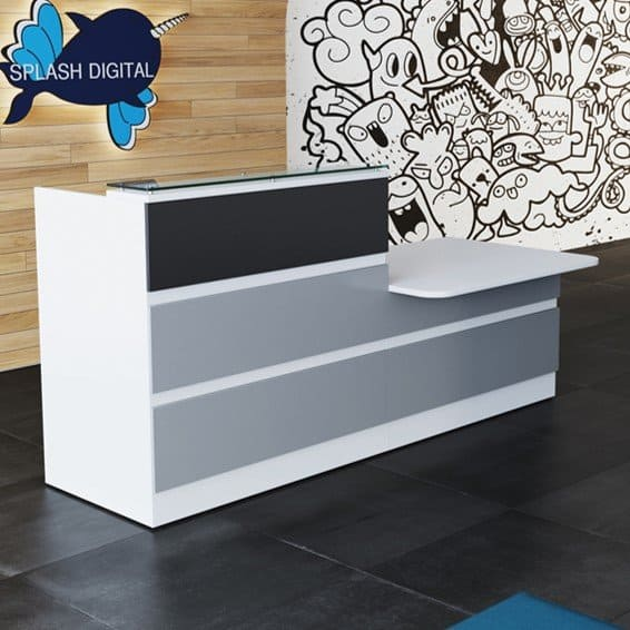 New Allure Straight Reception Counter With Horizontal Panels