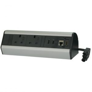 Desk Mounted Black And Grey Power Extension Module