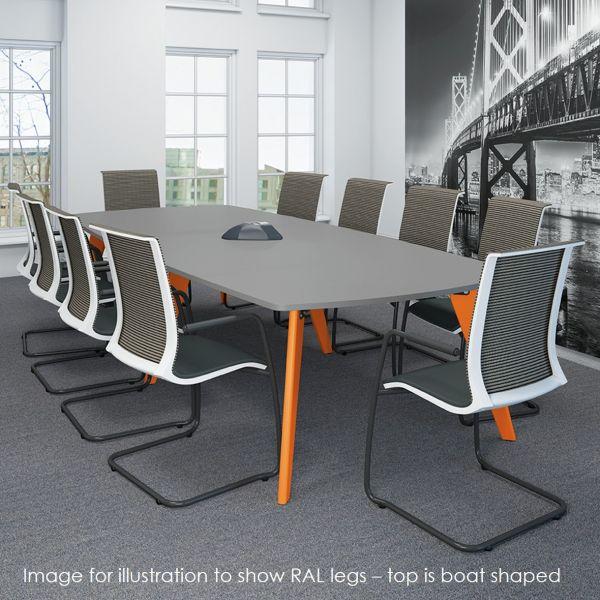 Evolve Rectangular Table With Oak Or Ral Legs Modern