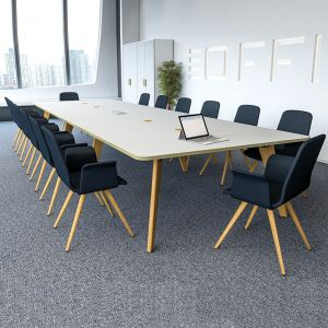 Evolve Shaped Oak Or Ral Legs Modern Table Rectangular