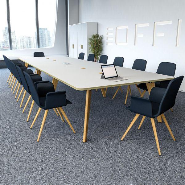 Evolve Shaped Oak Or Ral Legs Modern Table Rectangular