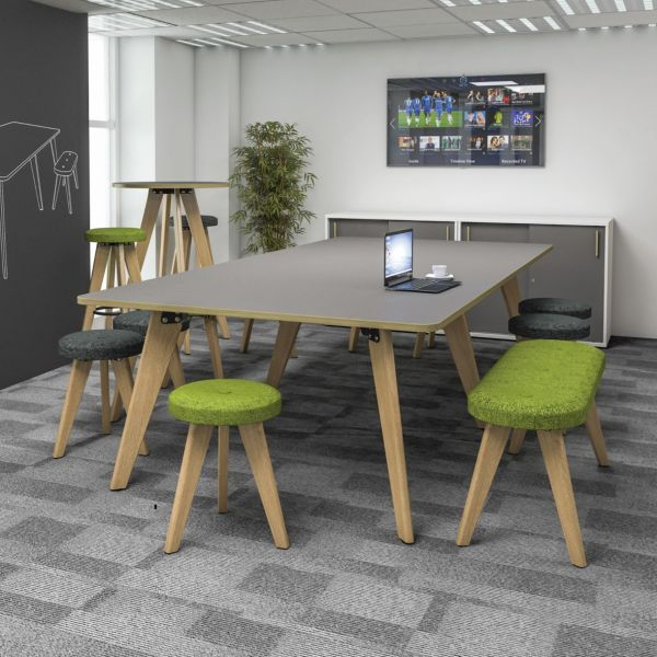 Evolve Shaped New Rectangular Table Wirh Ral Or Oak Legs
