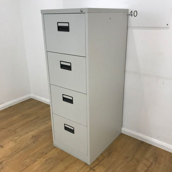 Used 4 Drawer Light Grey Filing Cabinet