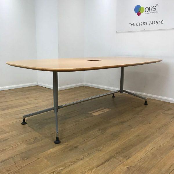 Boatshaped 2100mm Oak Veneer Table
