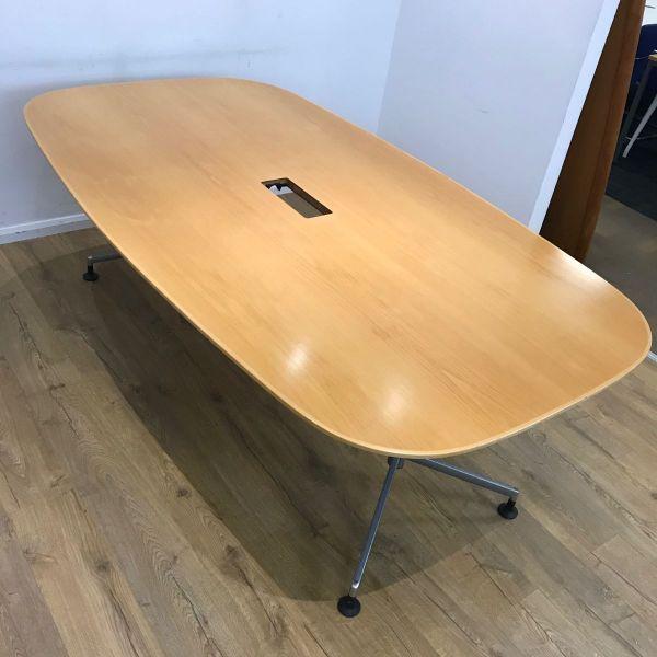 2100mm Boatshaped Oak Veneer Table