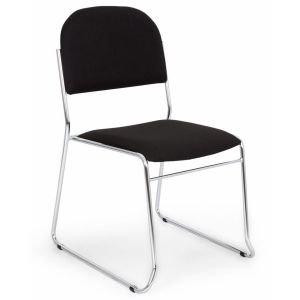 Black Vesta Metal Frame Soft Stacking Chairs
