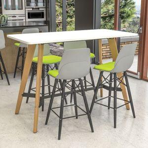 Evolve shaped rectangular poseur table